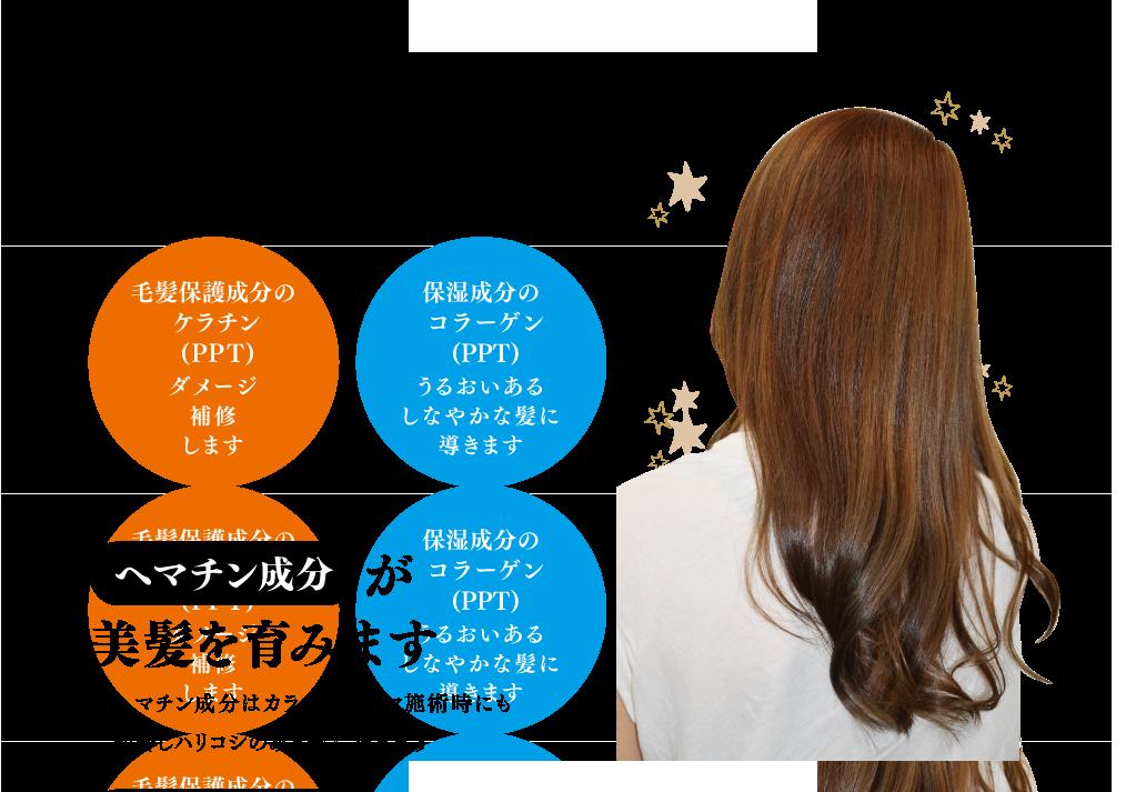 iromikamiオーガニックトリートメントは、 地肌にやさしいアミノ酸系トリートメントを扱っています またカラー・パーマ後の残留アルカリを 穏やかに中和します 毛髪保護成分のケラチン (PPT) ダメージ補修します 保湿成分のコラーゲン (PPT) うるおいあるしなやかな髪に導きます へマチン成分が美髪を育みます へマチン成分はカラー・パーマ施術時にも 配合しハリコシのある髪に導きます