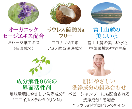 肌にやさしいオーガニックセージエキス配合 ラウレス硫酸Naフリー 富士山麓の美しい水 成分解性96%の界面活性剤 洗浄成分の組み合わせ