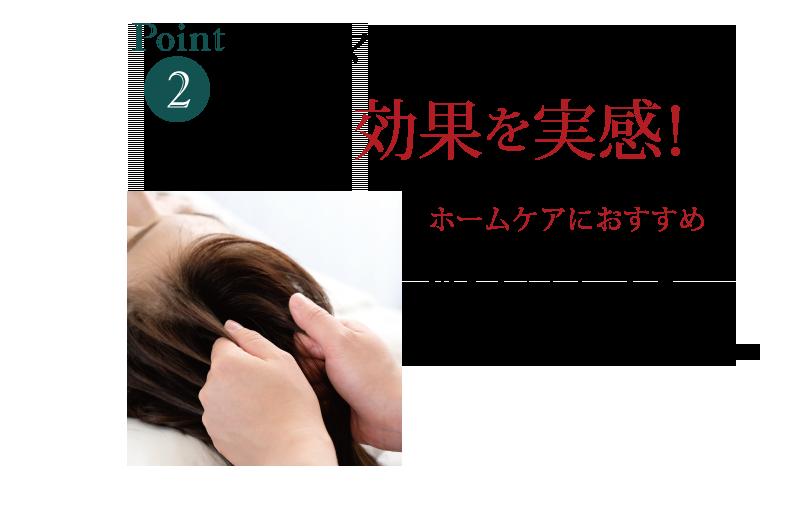 マッサージで さらに効果を実感! ホームケアにおすすめ 家でのマッサージを 毎日の習慣にすることで ボリュームのあるツヤ髪へ